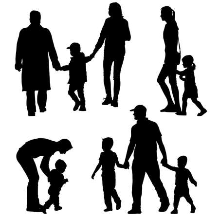 black family: Black silhouettes Family on white background. Vector illustration. Stock Photo