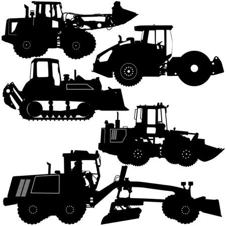 Set Silhouettes Road Construction Equipment Vector Illustration
