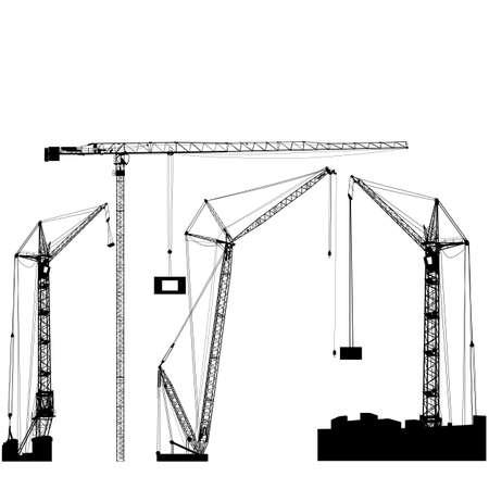 Set of black hoisting cranes isolated on white background. Vector illustration.