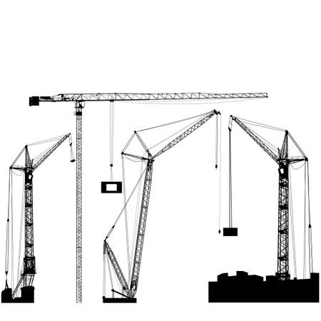 crane: Set of black hoisting cranes isolated on white background. Vector illustration. Stock Photo