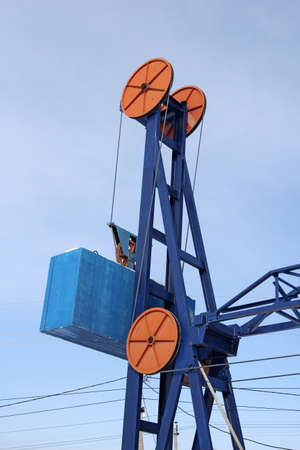 jib: Detail of the arm of a big jib crane.