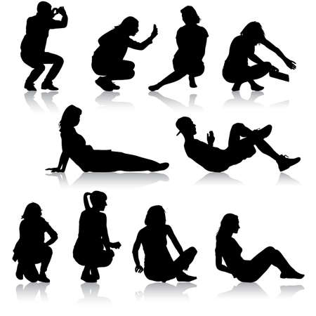 person silhouette: Silhouettes of people in positions lying and sitting. Vector illustration. Illustration