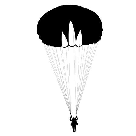 parachuting: Skydiver, silhouettes parachuting vector illustration Illustration
