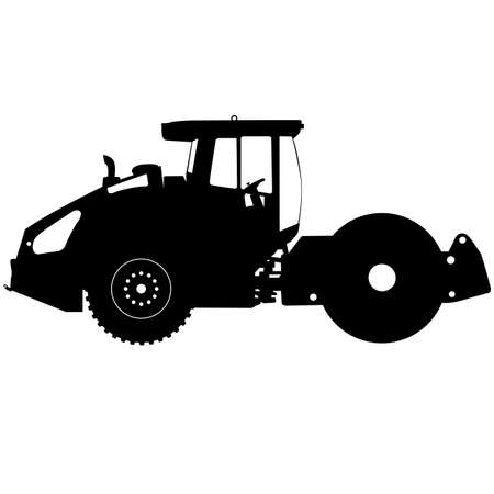 steamroller: Silhouette of a road roller.
