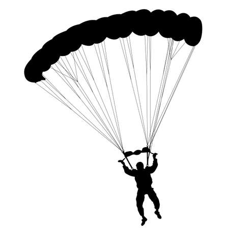 Skydiver, silhouettes parachuting vector illustration Illustration