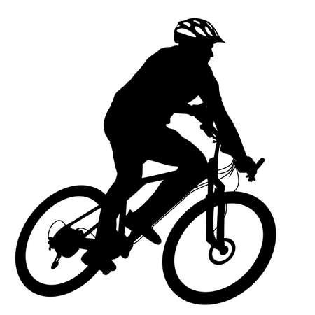Silhouette di un maschio ciclista. illustrazione vettoriale.