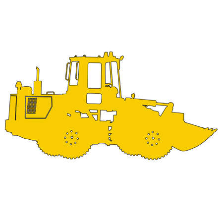 loaders: Silhouette of a heavy loaders with a ladle. Vector illustration. Illustration