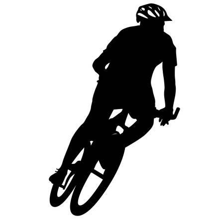 extreme sports: Silhouette of a cyclist male.  vector illustration.