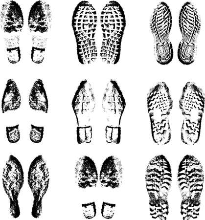 Collection  imprint soles shoes  black  silhouette. Vector illustration. Vettoriali