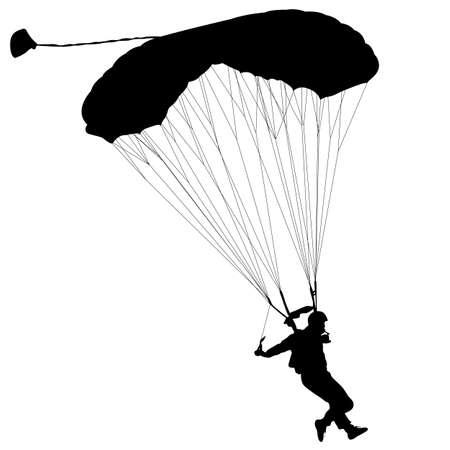 Skydiver, silhouettes parachuting vector illustration Illustration