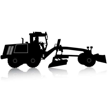 road grader: Silhouette of a heavy road grader. Vector illustration.