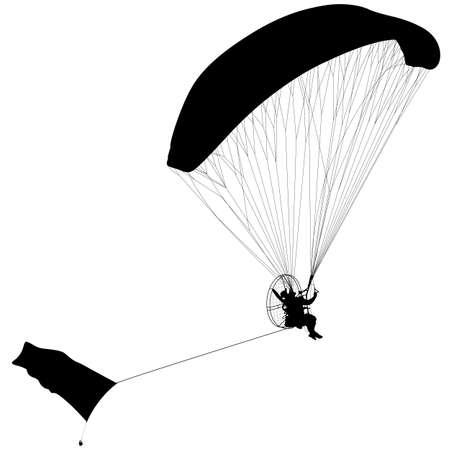 parapente: Parapente, ilustraci�n silueta del vector