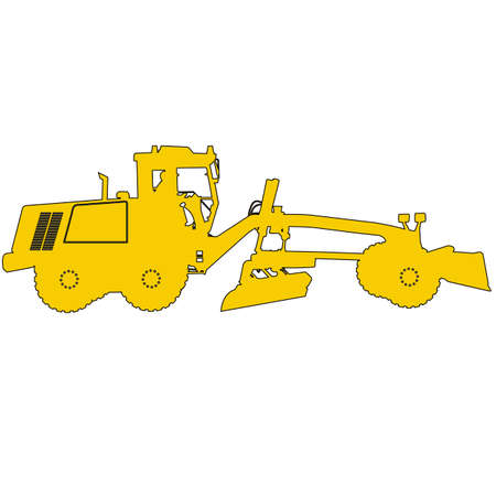 yellow tractors: Silhouette of a heavy road grader. Vector illustration.