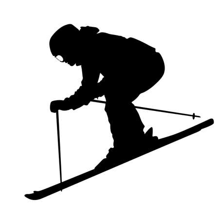 Bergskiër snelheidsovertredingen op de helling. Vector sport silhouet. Vector Illustratie