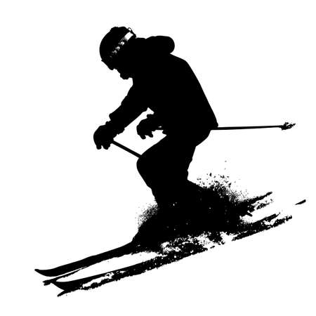 Mountain skier  speeding down slope. Vector sport silhouette. 向量圖像