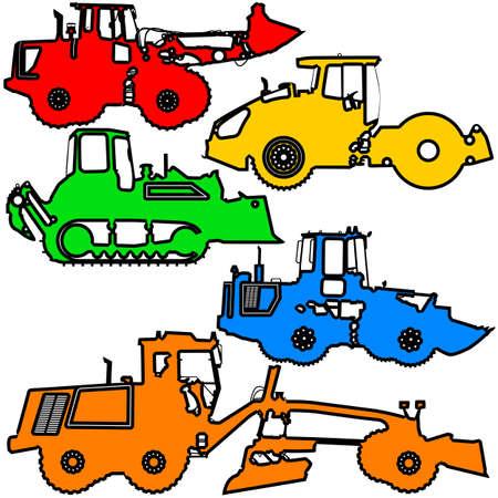 Set color silhouettes road construction equipment. Vector illustration.