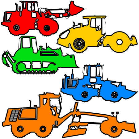 wheeled tractor: Set  color silhouettes  road construction equipment. Vector illustration. Illustration