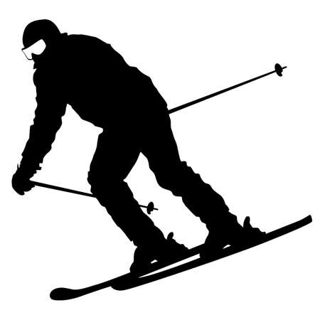 Montagne skieur qui dévale la pente. Vector silhouette sportive.