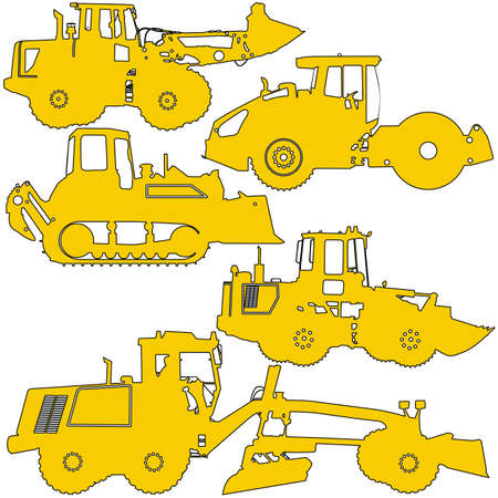 graders: Set  silhouettes  road construction equipment. Vector illustration.