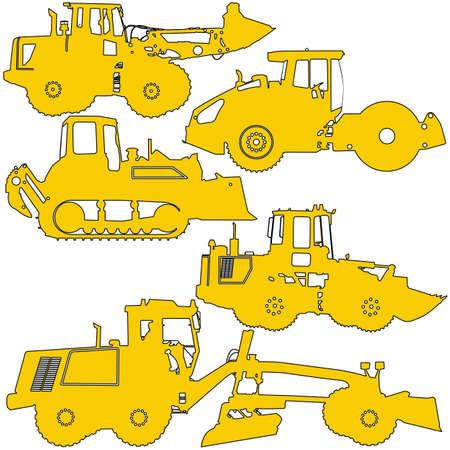 hydraulic platform: Set  silhouettes  road construction equipment. Vector illustration.