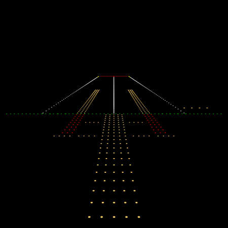 Luminous night landing lights Airport. Vector illustration. Vectores