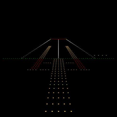 Luminous night landing lights Airport. Vector illustration. Stock Illustratie