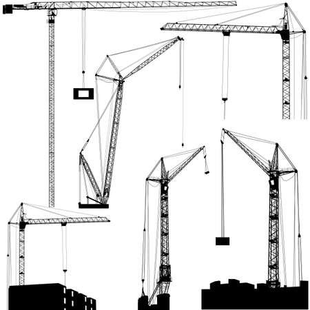 hoist: Set of black hoisting cranes isolated on white background. Vector illustration. Illustration