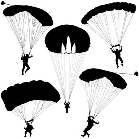 parachuting: Set skydiver, silhouettes parachuting vector illustration