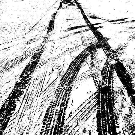 Grunge achtergrond met zwarte band spoor. Vector illustratie. Stock Illustratie