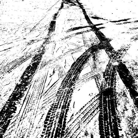 huellas de llantas: Grunge fondo con neumáticos de pista negro. Ilustración del vector.