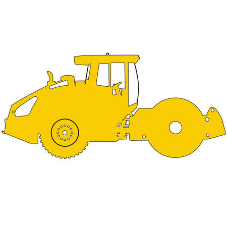 compactor: Silhouette of a road roller. Vector illustration.