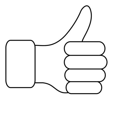 lifted: The thumb lifted upwards. Vector illustration.
