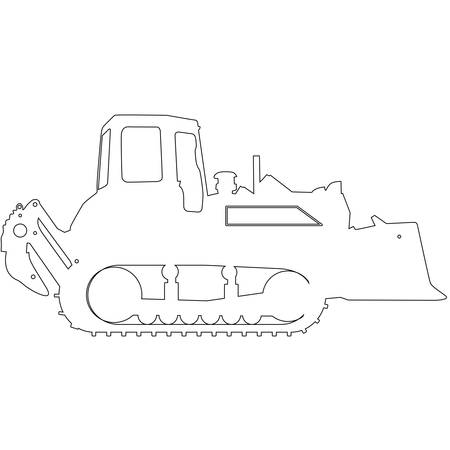 front loading: Silhouette of a heavy loaders with a ladle. Vector illustration. Illustration