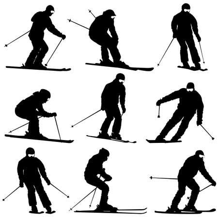 mountain skier: Set mountain skier  speeding down slope. Vector sport silhouette.