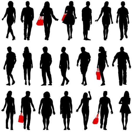 Las parejas hombre y mujer siluetas sobre un fondo blanco. Ilustración del vector.