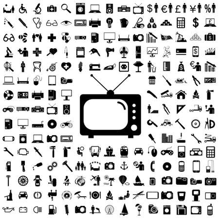 Kolekcja płaskich ikon. Symbole urządzeń elektronicznych. Ilustracja wektorowa.
