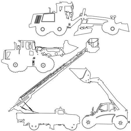 scraper: Set of silhouettes of construction machinery. Vector illustration. Illustration