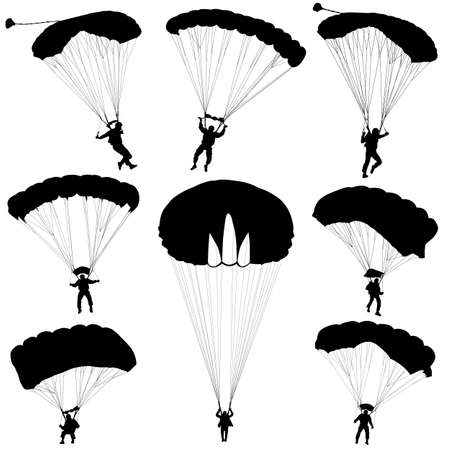 sport background: Set skydiver, silhouettes parachuting vector illustration