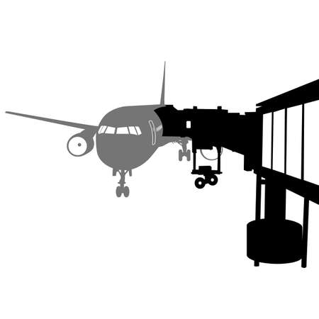 jet airplane: Jet airplane docked in Airport. Vector illustration.