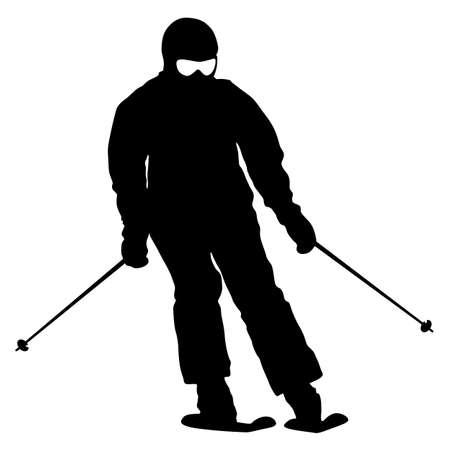 mountain skier: Mountain skier  speeding down slope. Vector sport silhouette. Illustration