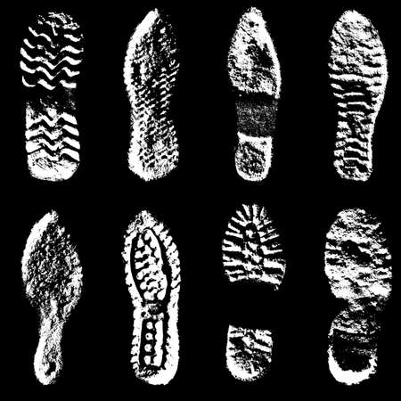 and soles: Collection  imprint soles shoes  black  silhouette. Vector illustration. Illustration
