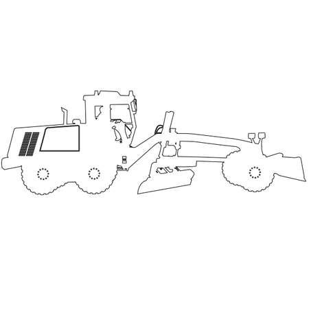 heavy: Silhouette of a heavy road grader. Vector illustration.