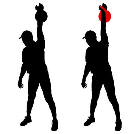 muscular: Silhouette muscular man holding kettle bell.  Vector illustration.