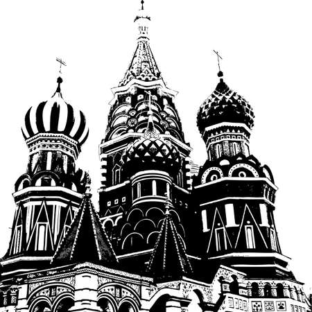 old church: Silhouette of the old church. Vector illustration. Stock Photo