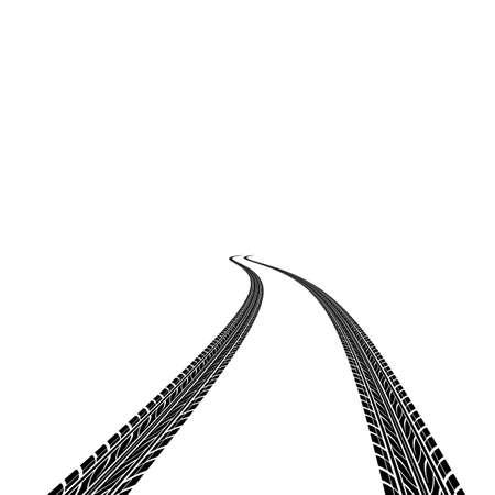 skidding: tire prints, vector illustration Stock Photo