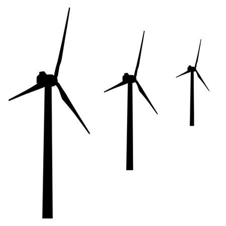 electric power: windmills for electric power production.  vector illustration