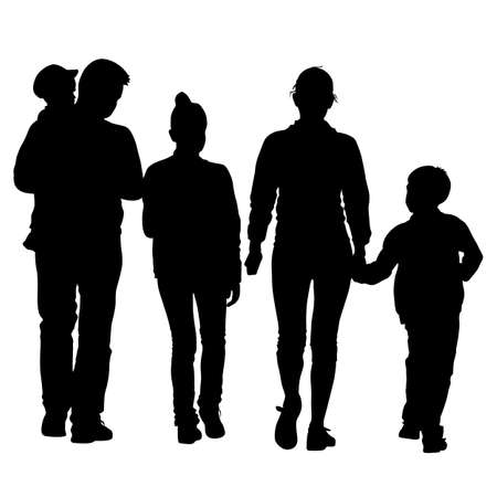 black family: Black silhouettes Family on white background. Vector illustration. Stock Photo