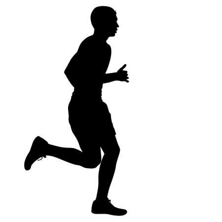 sprint: Silhouettes Runners on sprint, men. vector illustration.