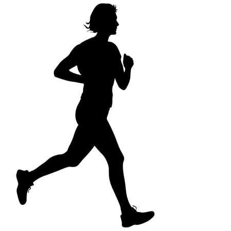 sprint: Silhouettes Runners on sprint, women. vector illustration. Stock Photo