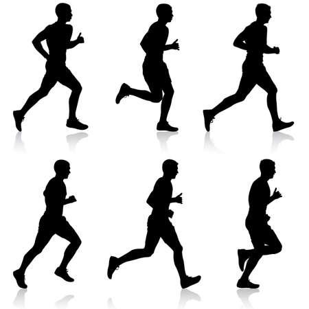 sprint: Set of silhouettes Runners on sprint, men vector illustration. Illustration